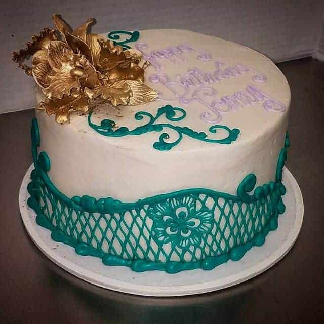 Teal Lace Cake with Gold Flower