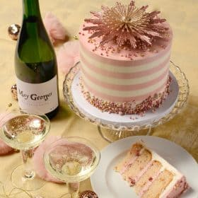 pink champagne cake with white stripes