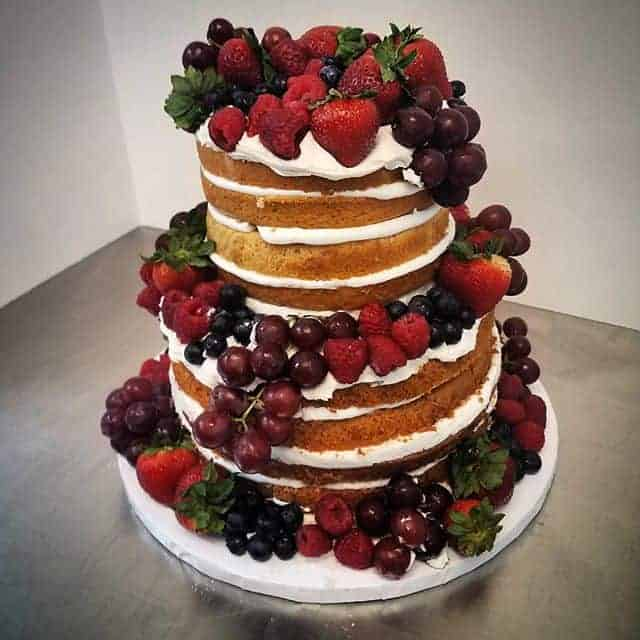 Three Tiered Naked Cake with Loads of Fresh Fruit