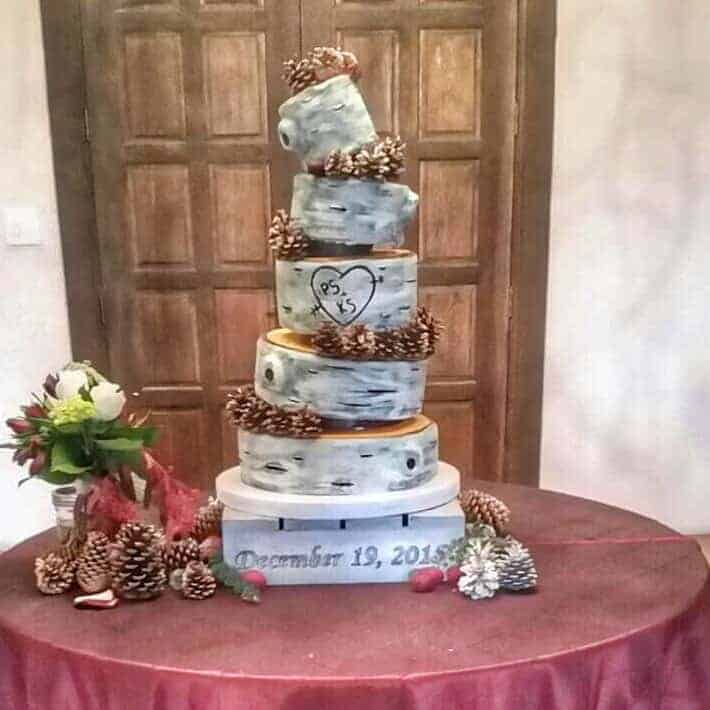 The Makery Cake Company Topsy Turvey Tree Bark Tree Trunk Cake