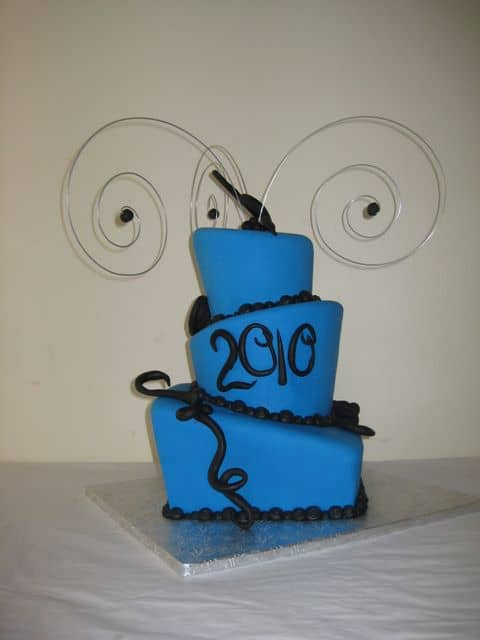 Topsy Turvy Graduation Cake with a Wire Topper