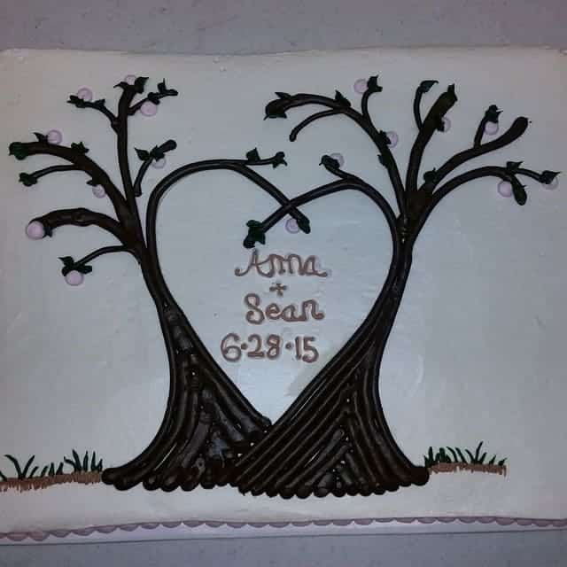 Trees Making a Heart Engagement Cake