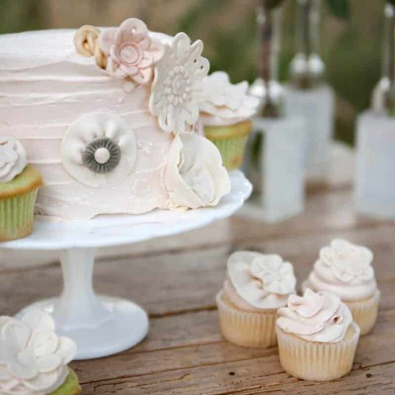Vintage style cutting cake and cupcakes in Denver