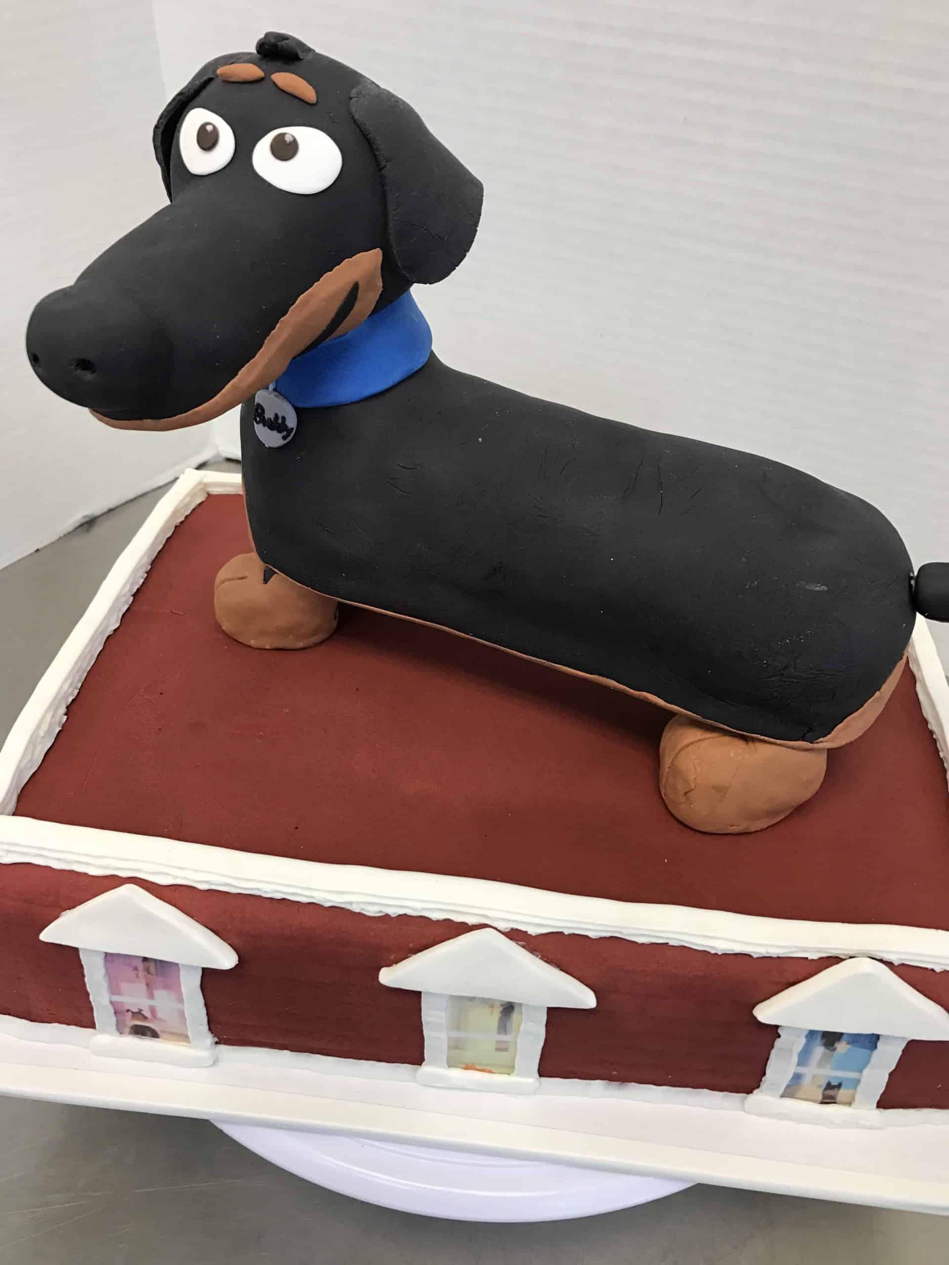 Weiner dog on a Pedistle Cake