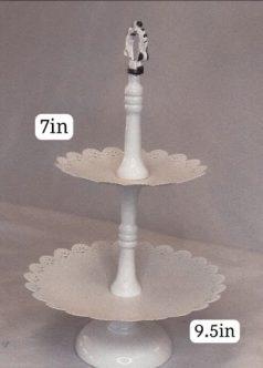 White Scalloped 2 Tier Cupcake Stand