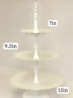 White Scalloped 3 Tier Cupcake Stand