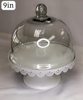 White Scalloped Elevated Cake Stand with Glass Cover