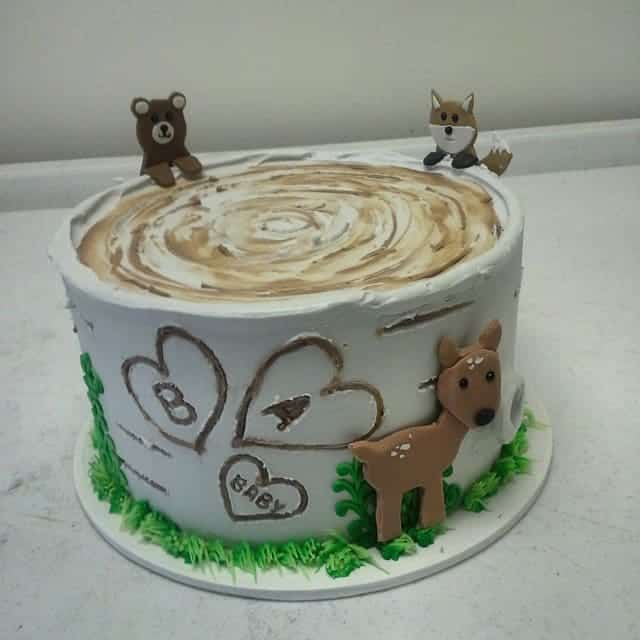 Woodland Critter Tree Trunk Cake