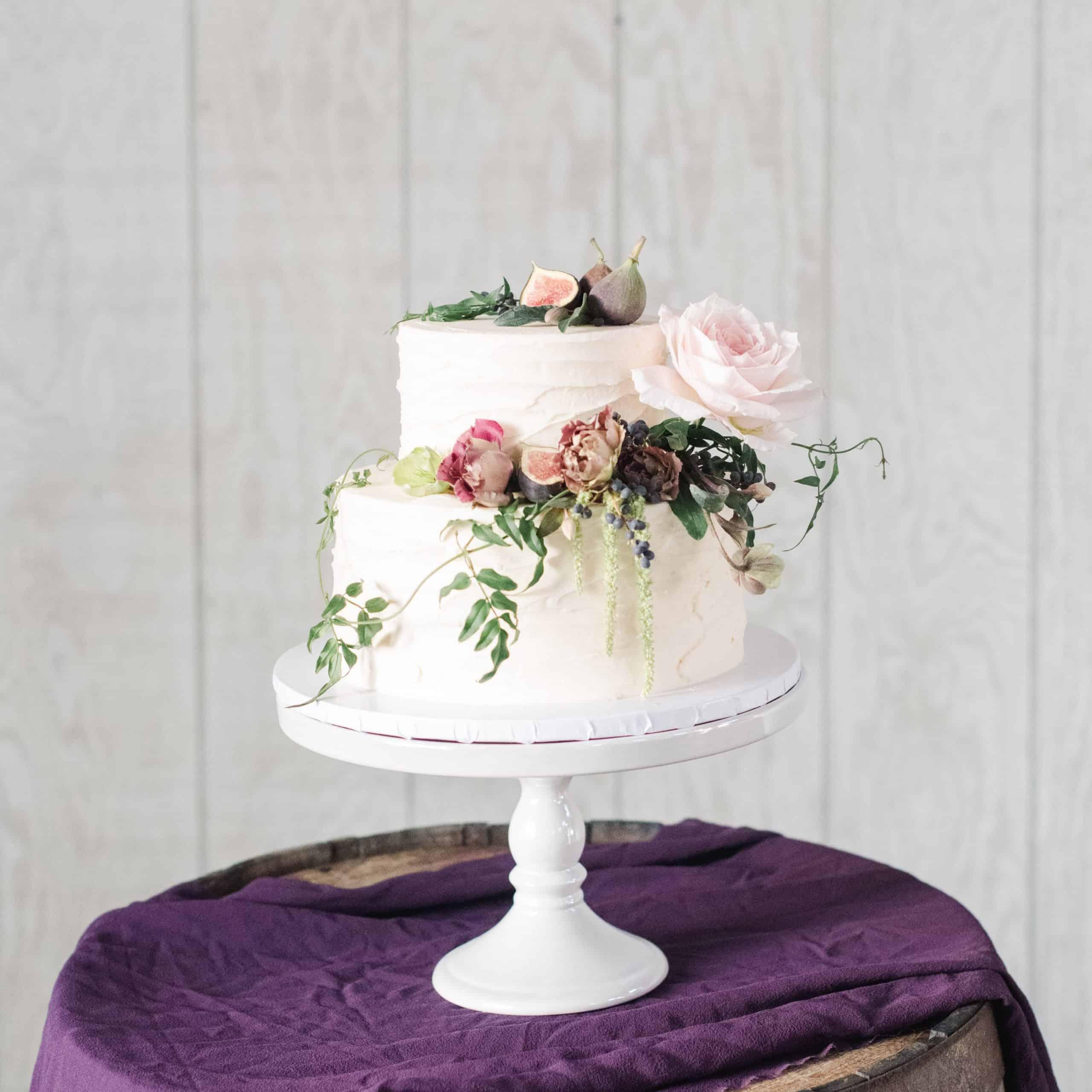 Fresh flower wedding cake by the makery cake co