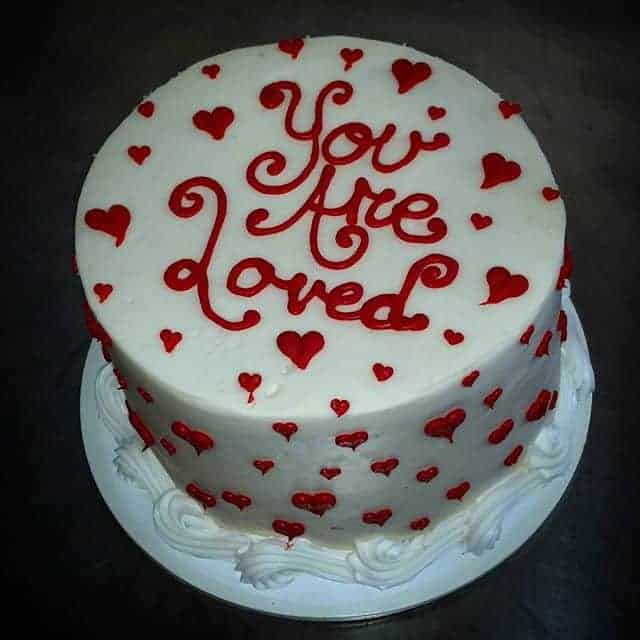 You are Loved Red Heart Anniversary Cake